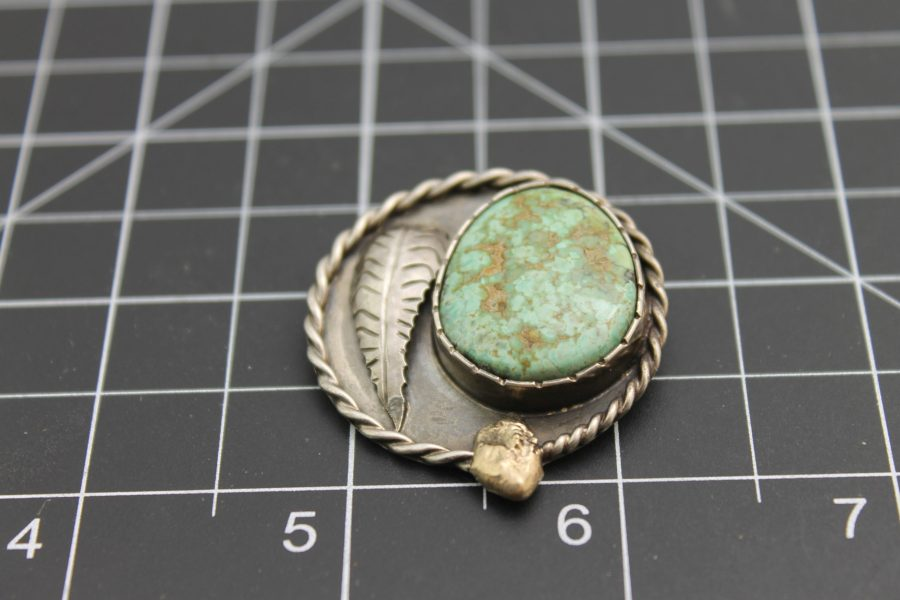"""Native American Handmade Turquoise Pendant with 18 Karat Yellow Gold Signed on Back """"1975 Gold Nugget Special"""", Signed by Artist 1"""