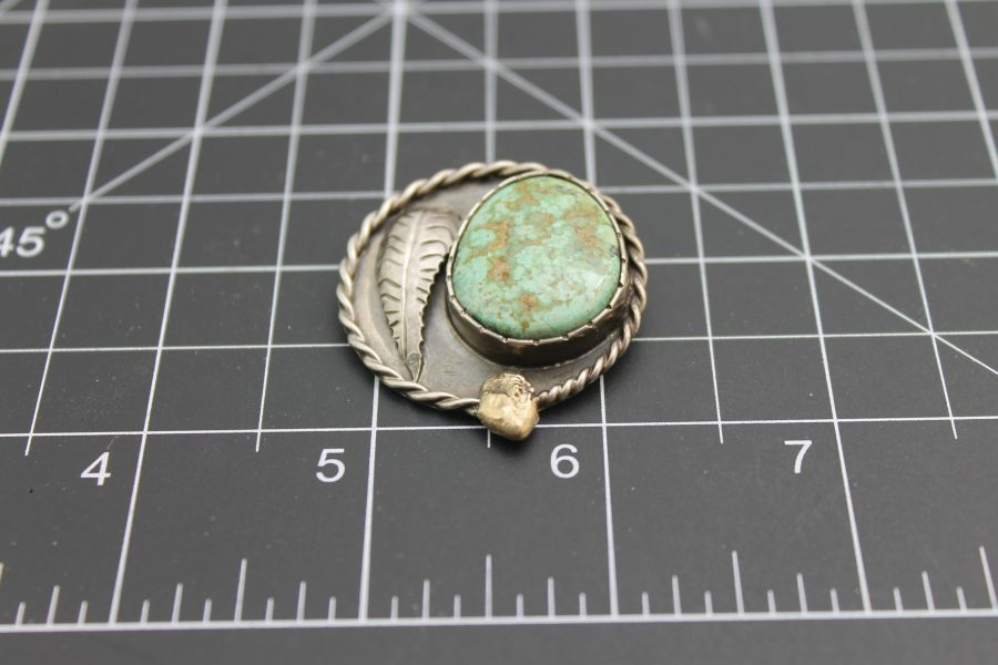 """Native American Handmade Turquoise Pendant with 18 Karat Yellow Gold Signed on Back """"1975 Gold Nugget Special"""", Signed by Artist 3"""