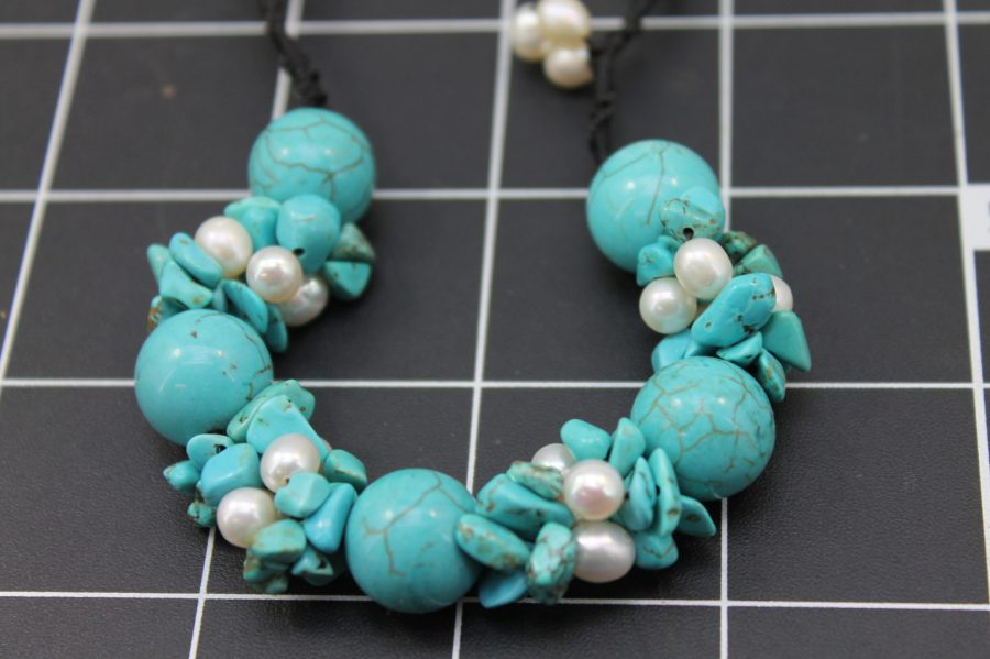Nifty turquoise and pearl Bracelet Freshwater Pearls Adjustable Size Fits up to 9 Inch 2
