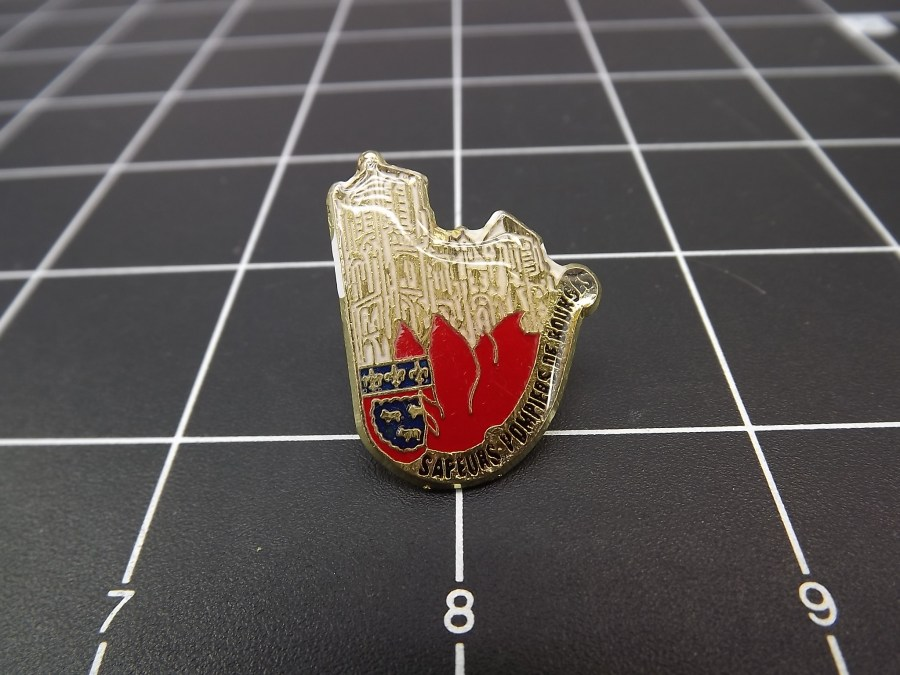 "LARGE European lapel pin looks like Belgium or France enameled with Crests ""SAPEURS POMPIERS DE BOURGES"" 1"
