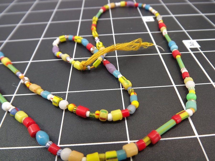 Effie Mona Mack Estate antique bead necklace multicolored made of genuine stones and glass Approximately 36 Inches in Length 3