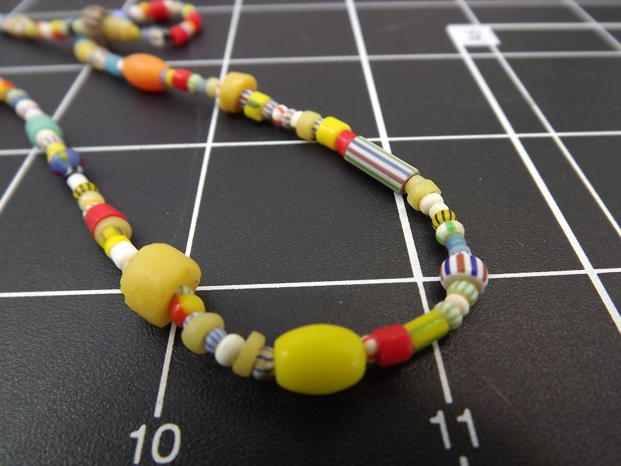 Effie Mona Mack Estate antique bead necklace multicolored made of genuine stones and glass Approximately 36 Inches in Length 2