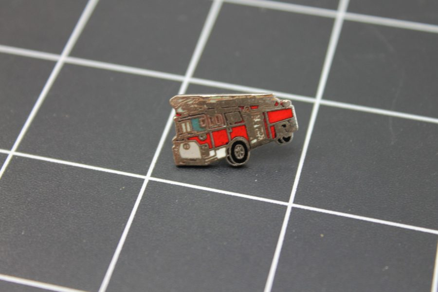 Brand-New FIRE TRUCK RED WITH LADDER Fireman Enameled Lapel Pin Lifetime Guarantee 1