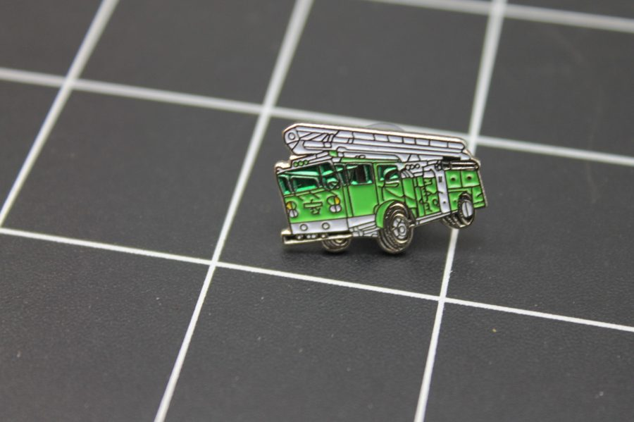 Brand-New GREEN FIRE TRUCK WITH LADDER Fireman Enameled Lapel Pin Lifetime Guarantee 1