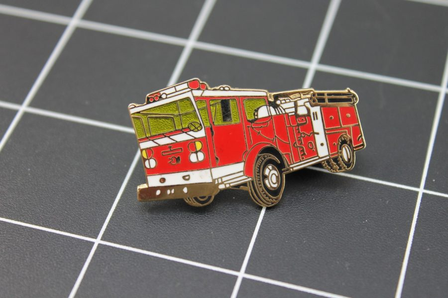 LARGE Brand-New FIRE TRUCK Fireman Enameled Lapel Pin Lifetime Guarantee Firefighter 1