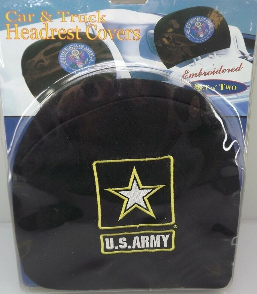 CAR AND TRUCK HEADREST COVERS-SET OF TWO-UNITED STATES ARMY - BRAND NEW ARMYII 1