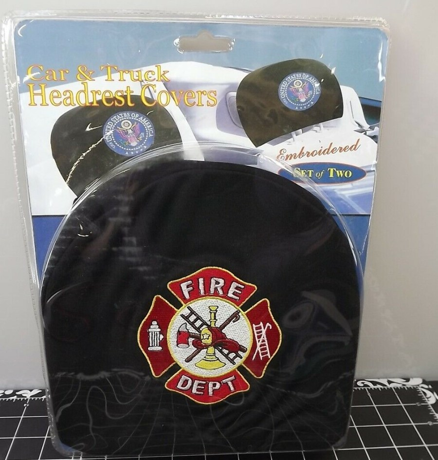 CAR AND TRUCK HEADREST COVERS-SET OF TWO-FIRE DEPARTMENT- BRAND NEW 1