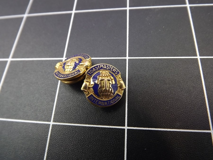 ANTIQUE BRASS BUTTON ENAMEL LAPEL PIN TOASTMASTERS INTERNATIONAL SET OF 2 4