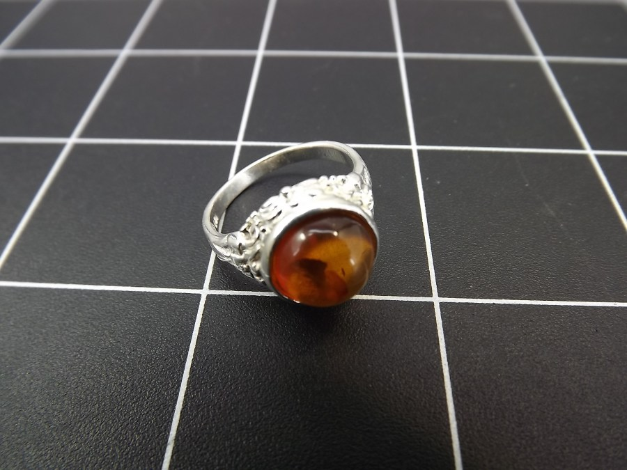 NEW STERLING SILVER 925 AMBER DOME RING 3.7 GRAMS SIZE 6 1