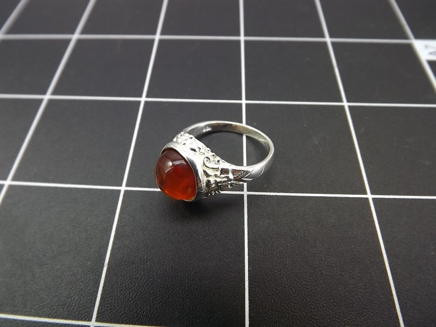 NEW STERLING SILVER 925 AMBER DOME RING 3.7 GRAMS SIZE 6 4