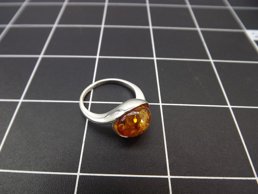 NEW STERLING SILVER 925 AMBER DOME STYLE COCKTAIL RING 3.8 GRAMS SIZE 8 1/4 1