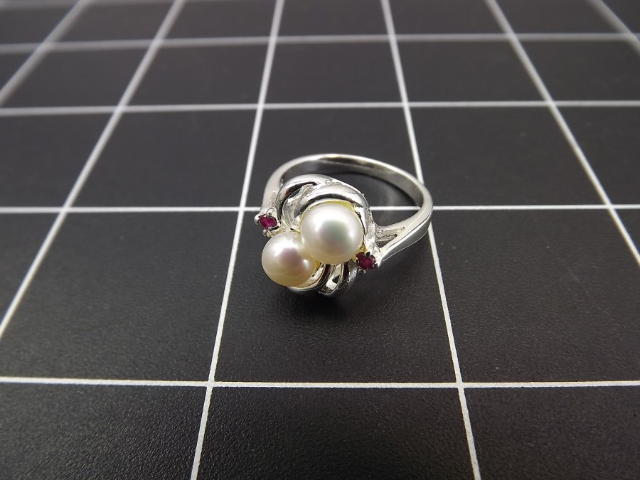 NEW STERLING SILVER 925 PEARL & RUBY SWIRL COCKTAIL RING 4.2 GRAMS SIZE 7 4