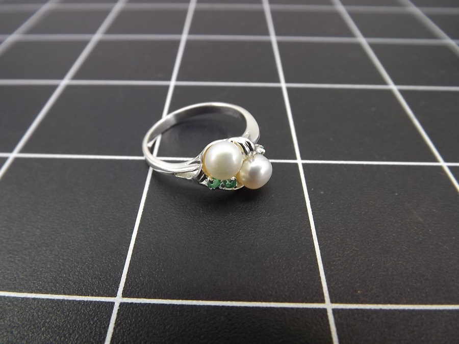 NEW STERLING SILVER 925 EMERALD & PEARL COCKTAIL RING 2.5 GRAMS SIZE 7 1