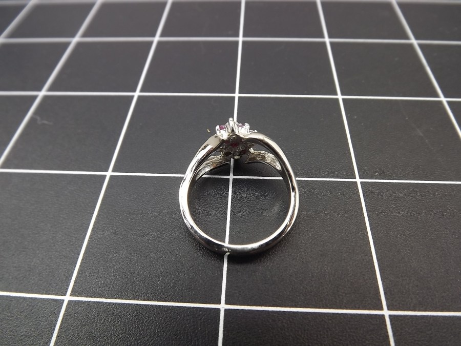NEW STERLING SILVER 925 RUBY & ZIRCON CLUSTER COCKTAIL RING 4.6 GRAMS SIZE 8 3