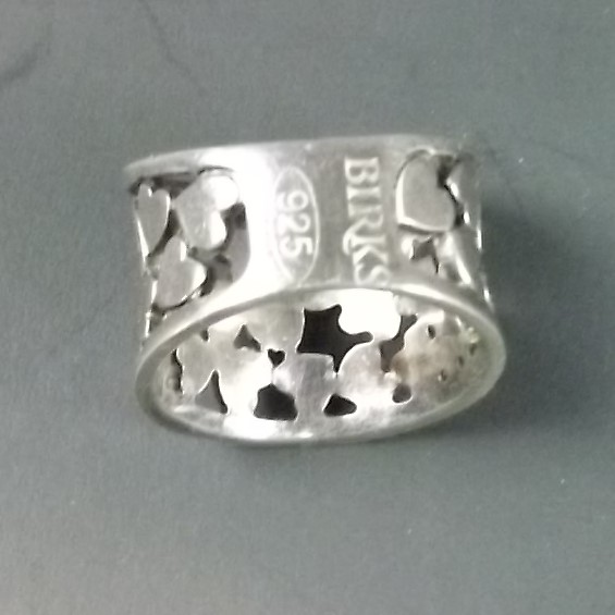 BIRKS OF CANADA Sterling Silver 925 Solid Made Wide Top Tapered Design Band Ring HEARTS 3