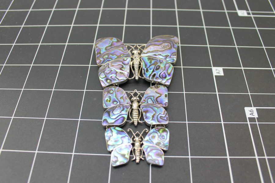 ANTIQUE STERLING SILVER BUTTERFLY ABALONE BROOCH PENDANT 3.6 GRAMS 1