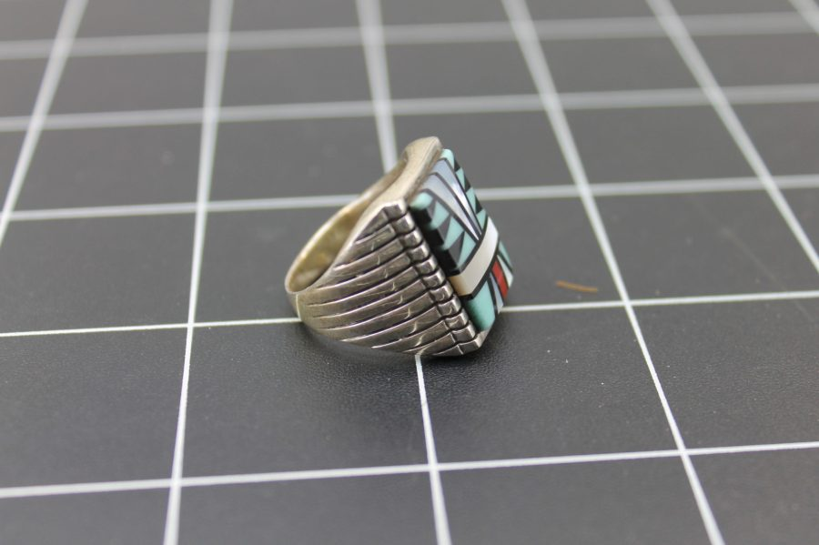 VINTAGE STERLING SILVER TURQUOISE MOTHER OF PEARL INLAY NATIVE AMERICAN RING 3