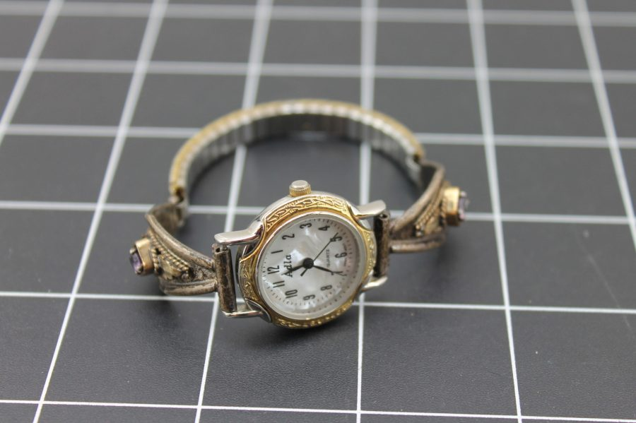 VINTAGE STERLING SILVER LADIES ADLA WATCH MOTHER OF PEARL DIAL W/AMETHYST STONES ADJUSTABLE BAND 1