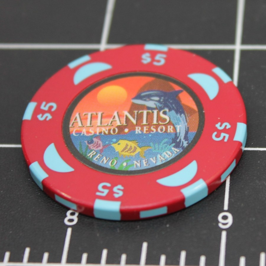 Casino ATLANTIS $5 CHIP TOKEN LAKE TAHOE RENO NV RED COLOR NO DATE HOT AUGUST NIGHTS 1