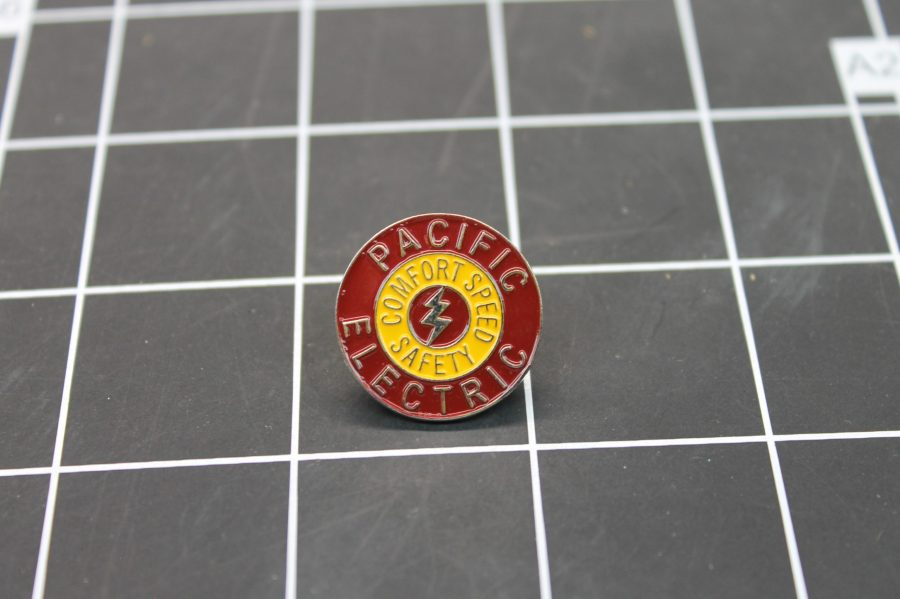 BRAND NEW SILVER TONE PACIFIC ELECTRIC YELLOW & RED  ENAMEL LAPEL PIN 1