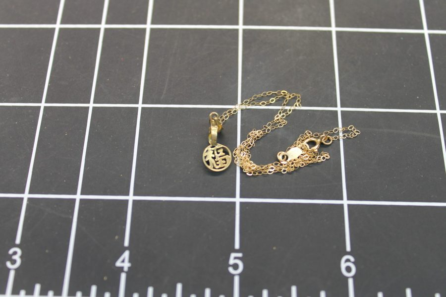 14KT YELLOW GOLD NECK CHAIN W/ CHINESE WRITING PENDANT 0.6GRAMS 2