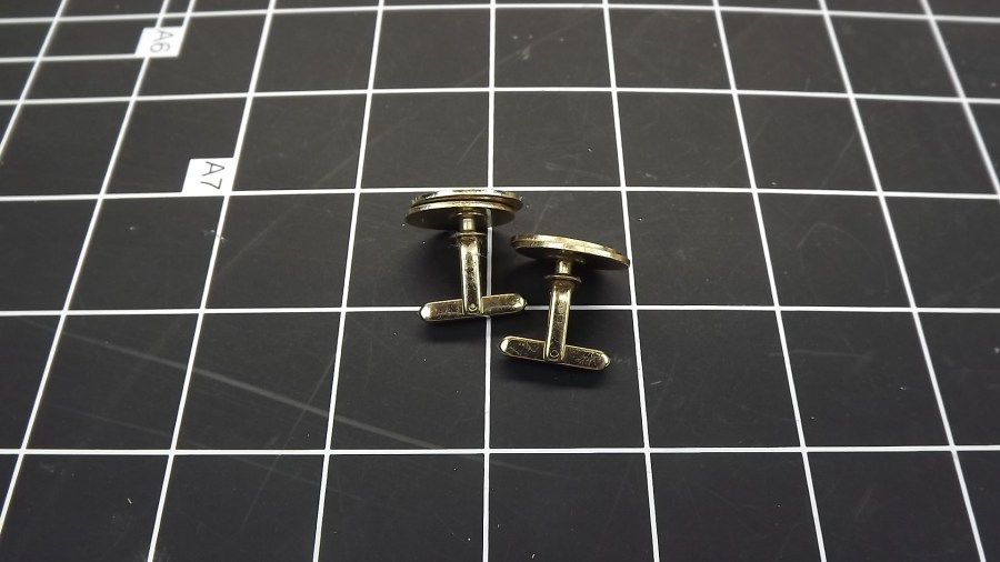 VINTAGE ANTIQUE GOLD TONE DOUBLE OVAL HIGH SHINE CUFF LINKS 2