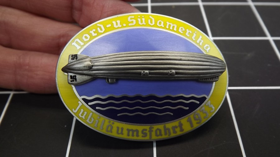 VINTAGE ANTIQUE NORD-U. SUDAMERIHA ZEPPELIN 1933 GERMANY NAZI ENAMEL LAPEL PIN 1