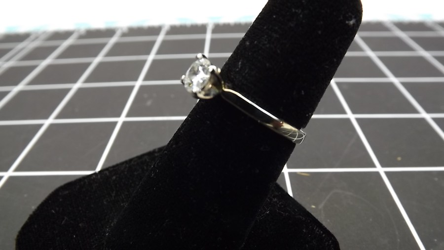 14KT WHITE GOLD .35 CARAT TOTAL WEIGHT ROUND BRILLIANT SOLITAIRE ENGAGEMENT RING SIZE 4 3/4 2