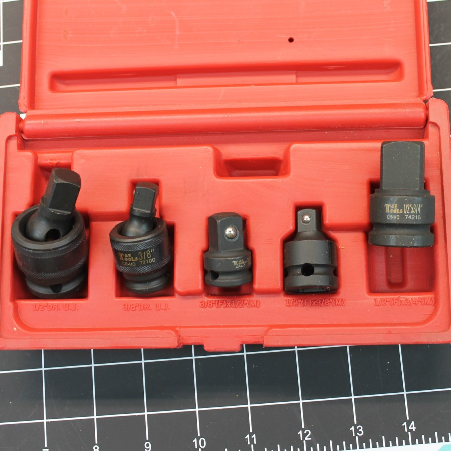T&E Tools 5-PIECE Impact Adaptor / Universal Joint Set BRAND NEW in red plastic case 1
