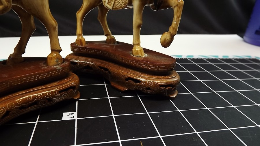 PAIR OF 2 ANTIQUE VINTAGE HAND CARVED IVORY STALLION HORSE FIGURINES 3