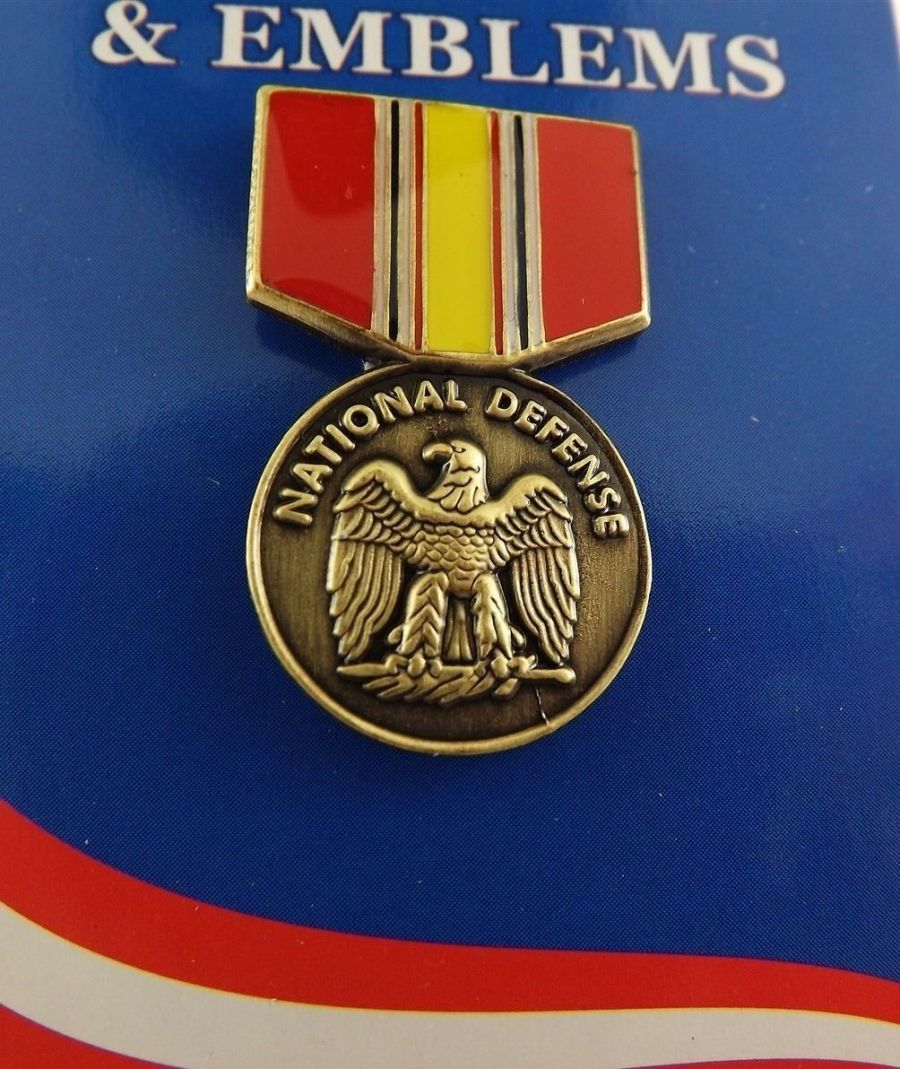 "BRAND NEW Lapel Pin National Defense Medal Red & Yellow Enamel 1 3/16"" 1"