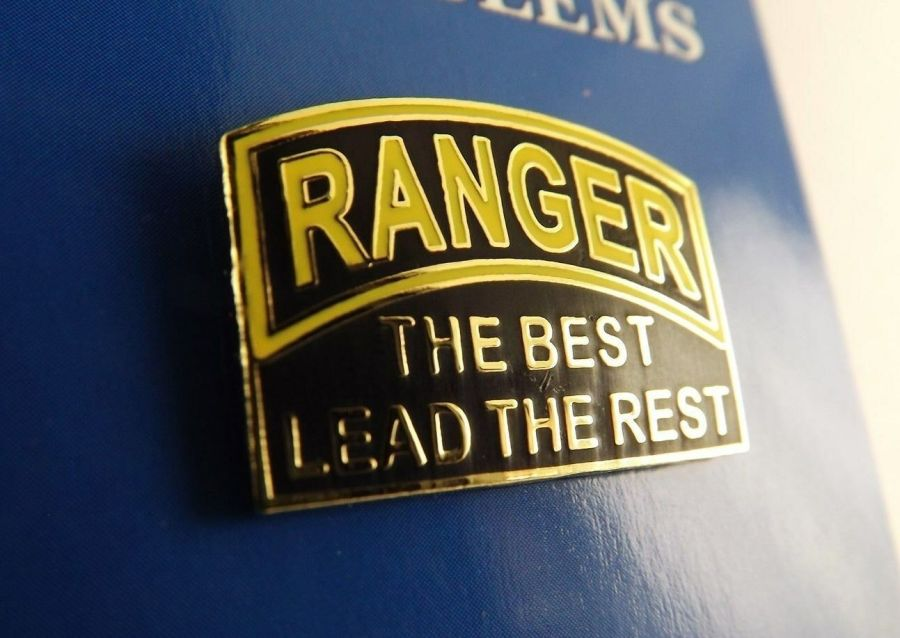 "BRAND NEW Lapel Pin US Army RANGER The Best Lead The Rest Black Yellow Enamel 1"" 1"