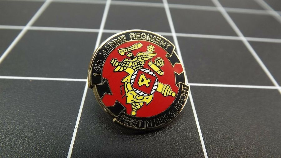 """BRAND NEW Lapel Pin USMC 14TH REGIMENT First In Fire Support Enamel  1"""" 1"""