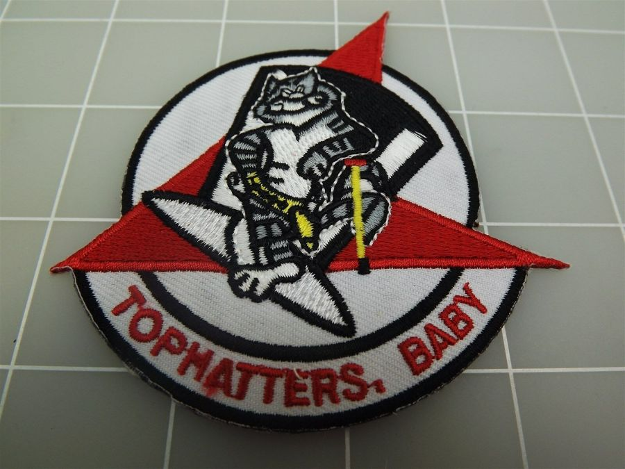 """BRAND NEW U.S. NAVY USN TOMCAT TOPHATTERS, BABY Patch 3 3/8"""" 1"""