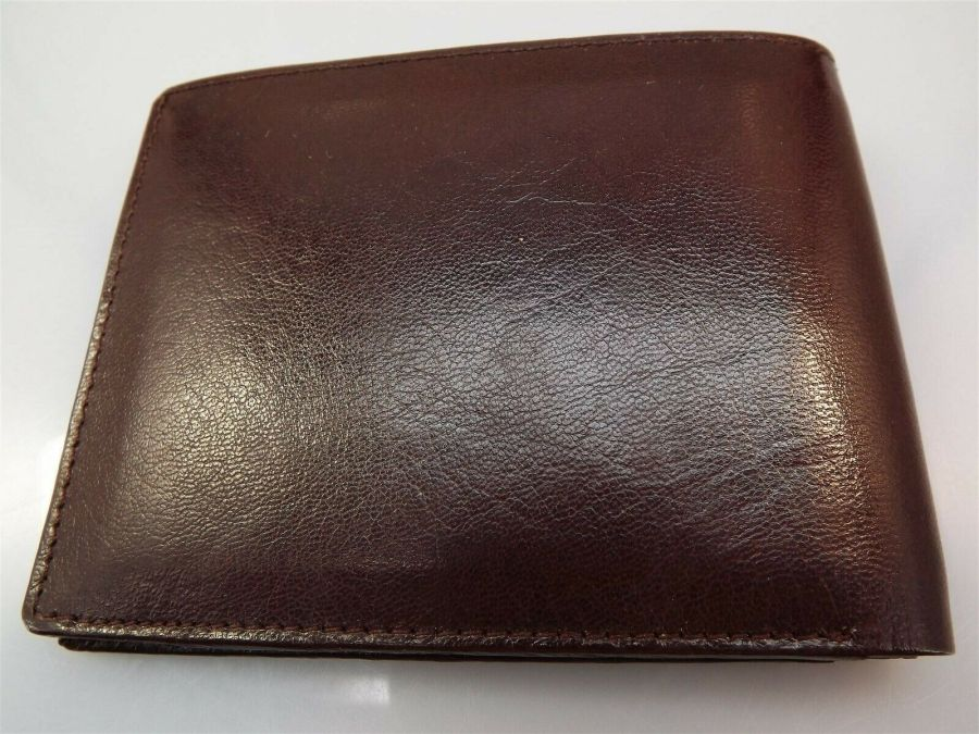 New Genuine Leather BROWN Masonic Freemason Embossed Square & Compass WALLET 3