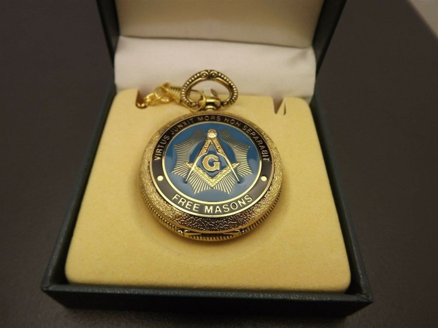 New Masonic Mason Pocket Watch Gold Tone Square & Compass BLUE LODGE ENAMEL 3