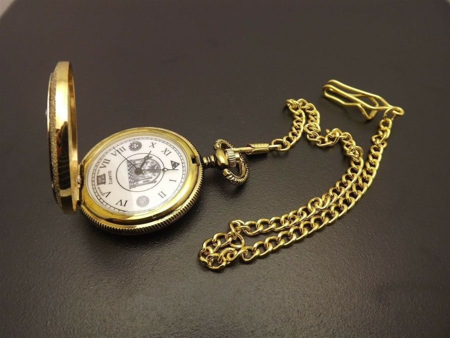 New Masonic Mason Pocket Watch Gold Tone Square & Compass BLUE LODGE ENAMEL 4