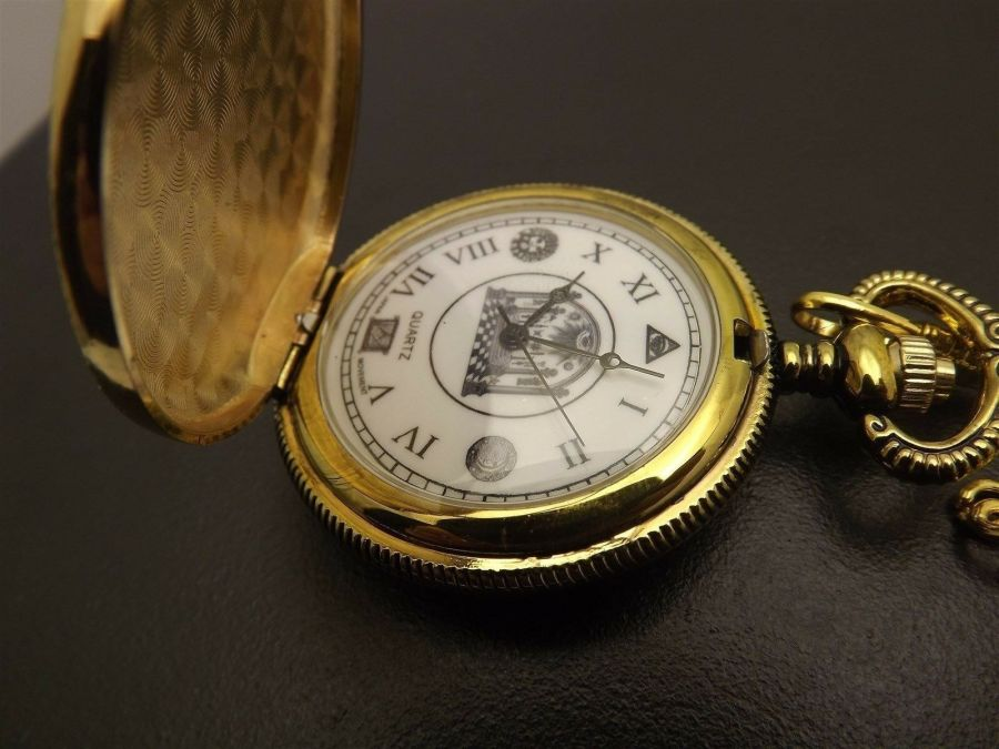 New Masonic Mason Pocket Watch Gold Tone Square & Compass BLUE LODGE ENAMEL 8