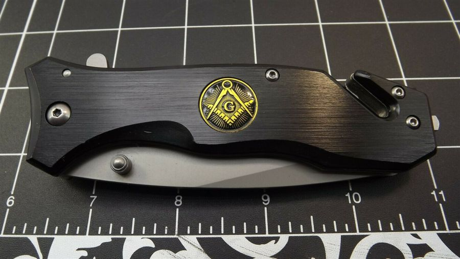 New Tactical Masonic Mason Folding Pocket Knife FREEMASON Square & Compass 1