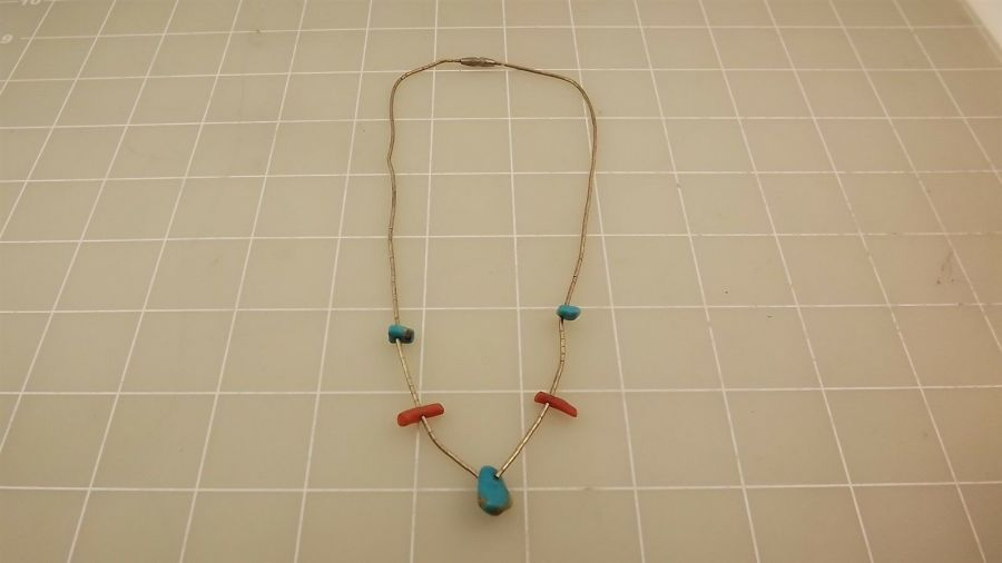 Sterling Silver Turquoise & Coral Beaded Choker Necklace Chain 1