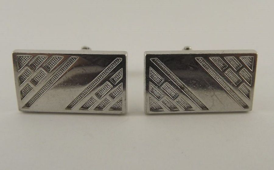 Vintage Silver Tone Mens Cuff Links ID Square Style Unique Pattern 1