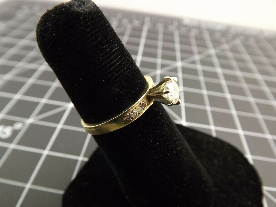 14Kt Solid Yellow Gold .40ct Genuine Diamond Solitaire Wedding Ring 14 Karat 14k 4