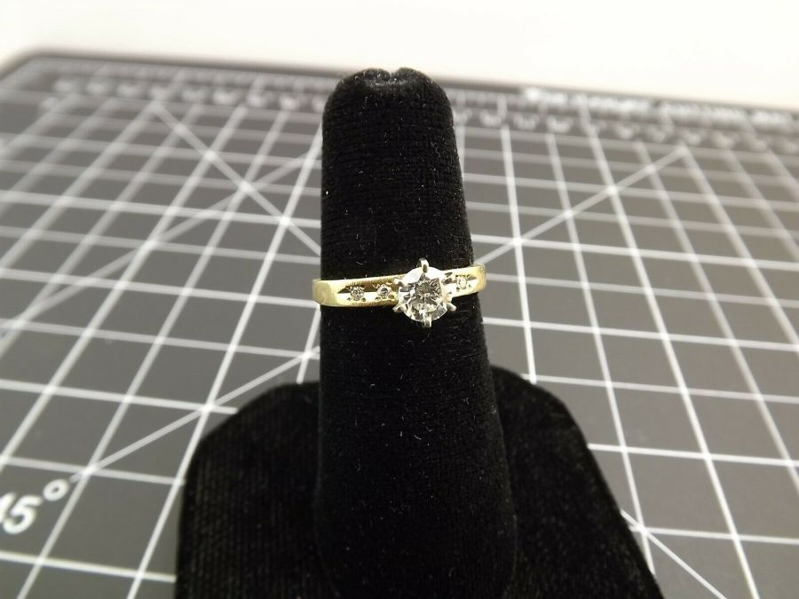 14Kt Solid Yellow Gold .40ct Genuine Diamond Solitaire Wedding Ring 14 Karat 14k 1