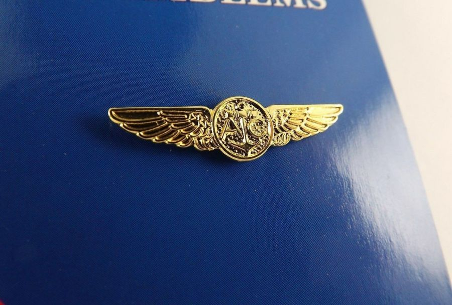 "BRAND NEW Lapel Pin U.S. Navy AIRCREW Gold Tone Wings 1 1/4"" 1"
