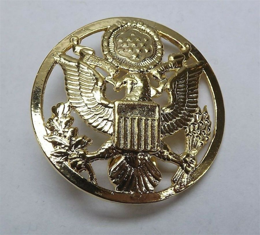 """Lapel pin NEW Badge US Army Enlisted Gold Circle 1-7/8"""" Gold Plated 3"""