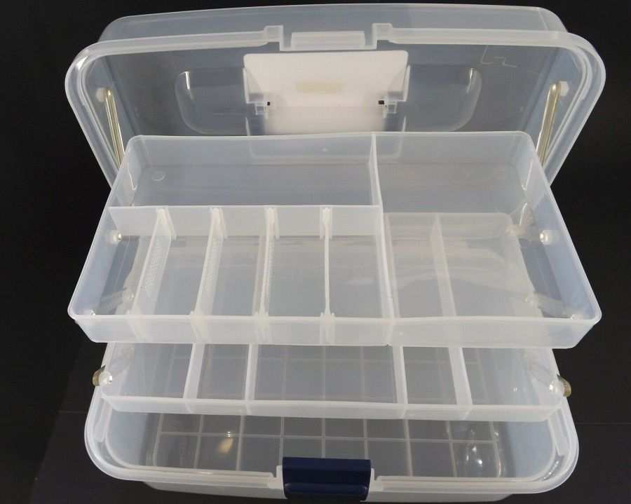 New Transparent Plastic Tool Box & Removable Inner Tray 7