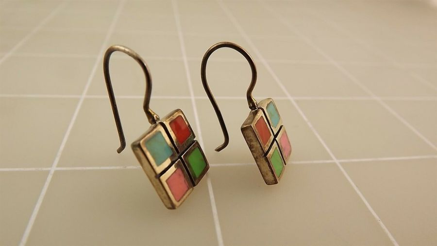 Sterling Silver 925 Turquoise & Coral Checkered Grid Style Dangle Earrings 3.0Gr 3
