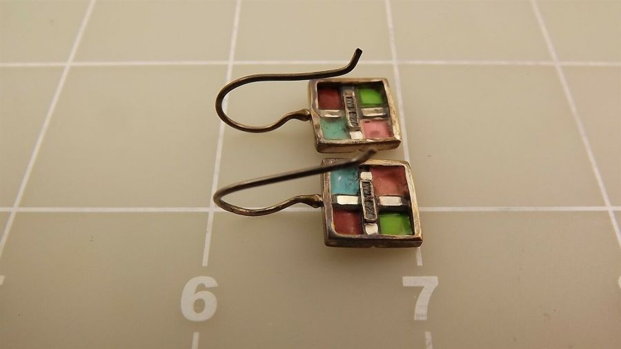 Sterling Silver 925 Turquoise & Coral Checkered Grid Style Dangle Earrings 3.0Gr 4