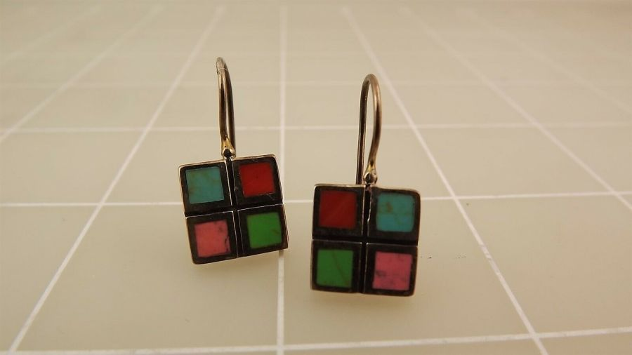 Sterling Silver 925 Turquoise & Coral Checkered Grid Style Dangle Earrings 3.0Gr 1