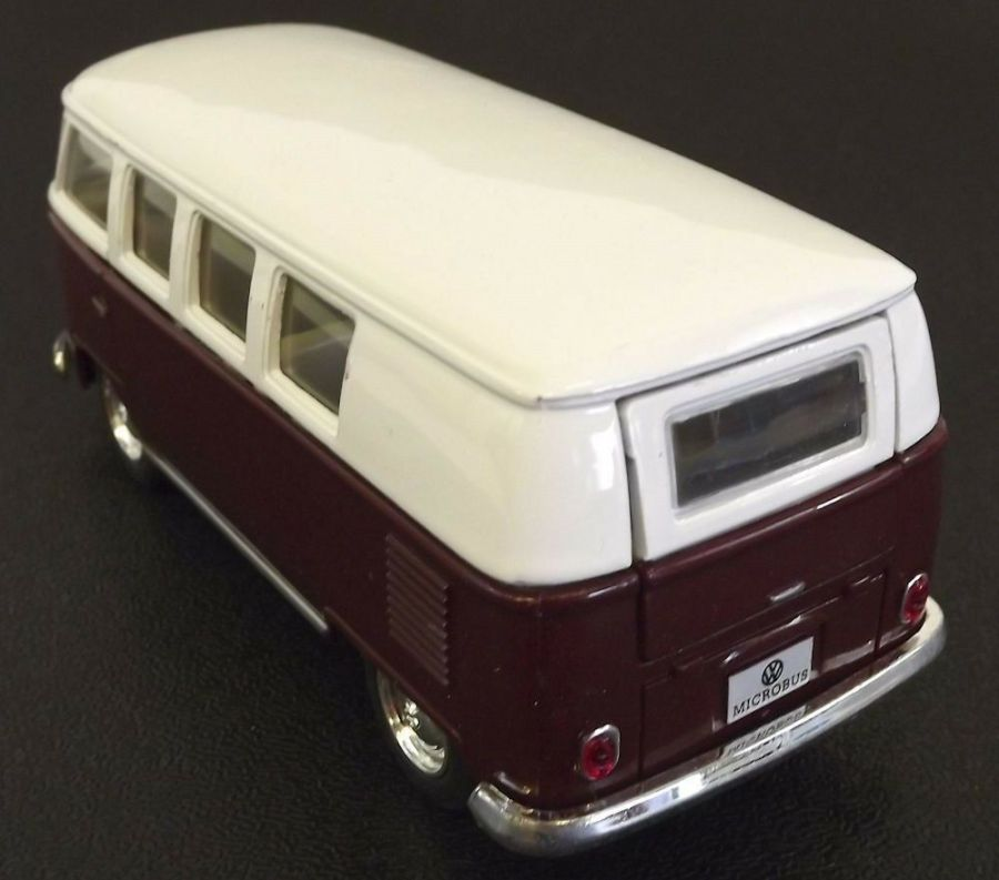 Collectible Die Cast MAROON 1962 Volkswagen Classic Bus VW 1:32 Scale Kinsmart 4